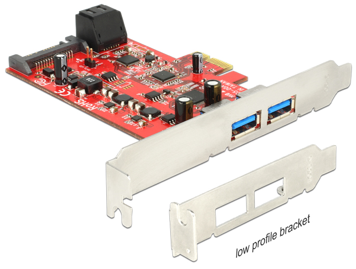 Delock PCI Express Card > 2 x external USB 3.0 + 2 x internal SATA 6 Gb/s – Low Profile Form Factor