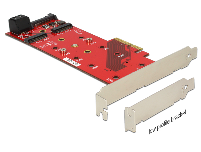 Delock PCI Express Card > 3 x M.2 NGFF Slot – Low Profile Form Factor