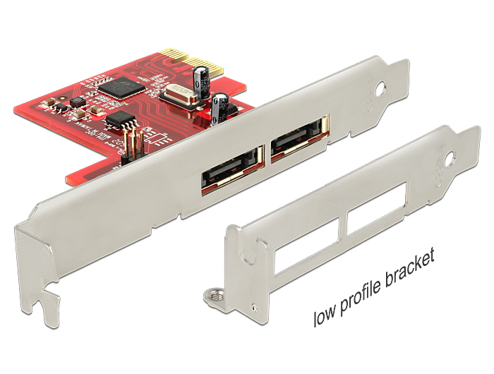 Delock PCI Express Card > 2 x eSATA 6 Gb/s with RAID – Low Profile Form Factor