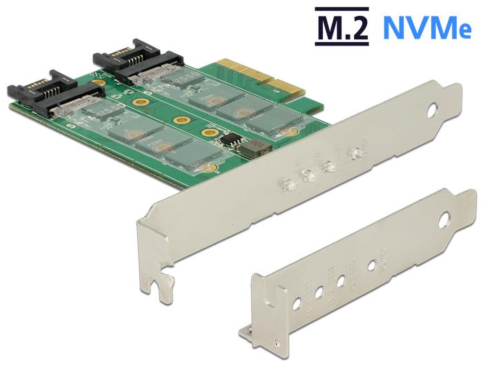 Delock PCI Express-kártya > 3 x M.2 nyílás – alacsony profilú formatényezo