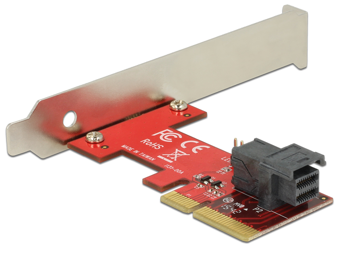 Delock PCI Express x4-kártya > 1 x belso SFF-8643 NVMe – alacsony profilú formatényezo