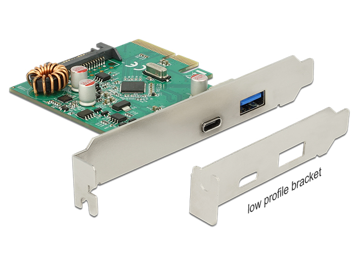 Delock PCI Express x4 kártya > 1 x külso USB Type-C hüvely + 1 x külso USB 3.1 Gen 2 A-típusú hüvel