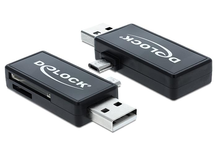 Delock Micro USB OTG-kártyaolvasó + USB A-csatlakozódugó