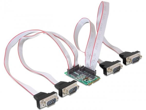 Delock MiniPCIe I/O PCIe teljes méret, 4x soros, RS-232 tápkezeléssel