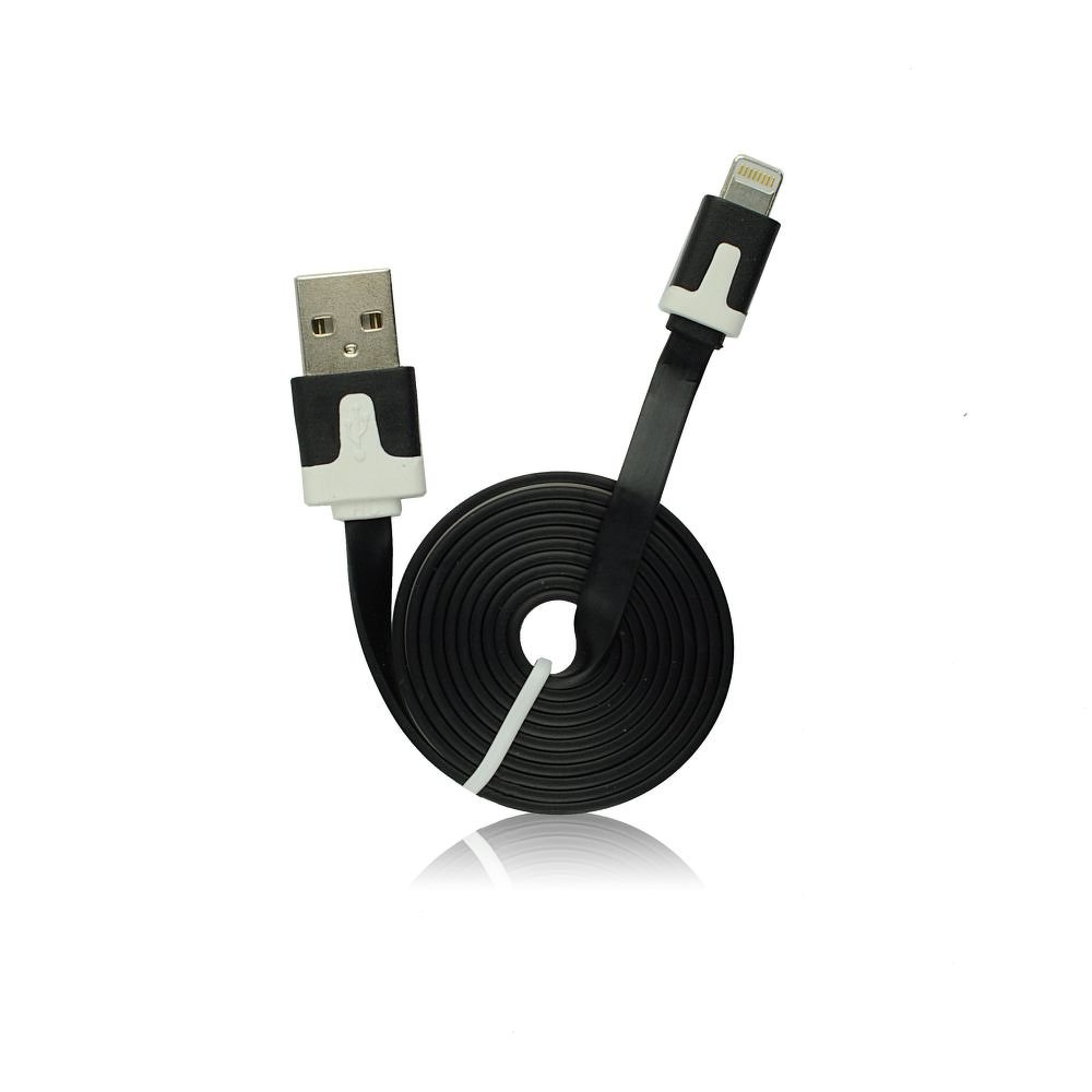 USB - IPHO 5/5C/5S/6/6 Plus/iPAD Mini white iOS8.3 compatible vékony kábel (fekete)