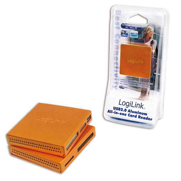 Logilink USB 2.0-ás Alumínium minden az egyben kártyaolvasó, narancs