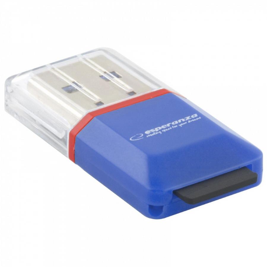 ESPERANZA USB2.0 microSD kártyaolvasó (kék)