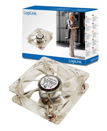 LogiLink Ventilátor 80x80x25mm akril 4 LEDdel