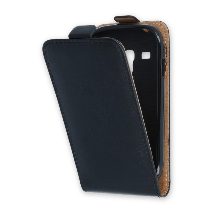 Leather case PLUS New SAM i8190/i8200 S3 mini/S3 mini VE Fekete