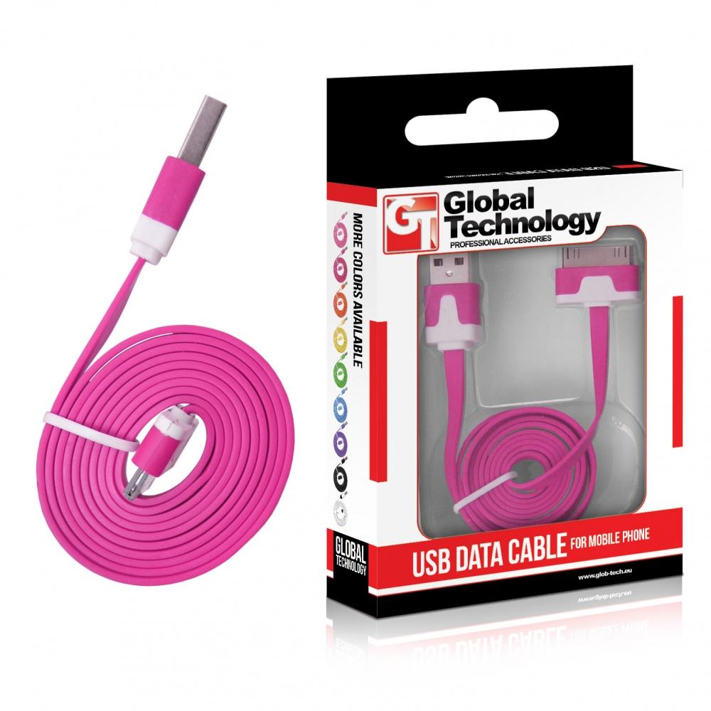 GT USB iPH.3G/3Gs/4/4s lapos rózsaszín kábel