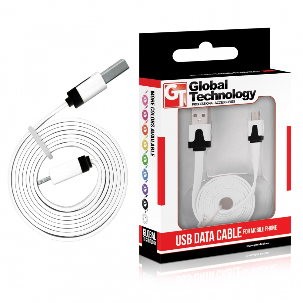 GT USB-Micro USB lapos fehér kábel