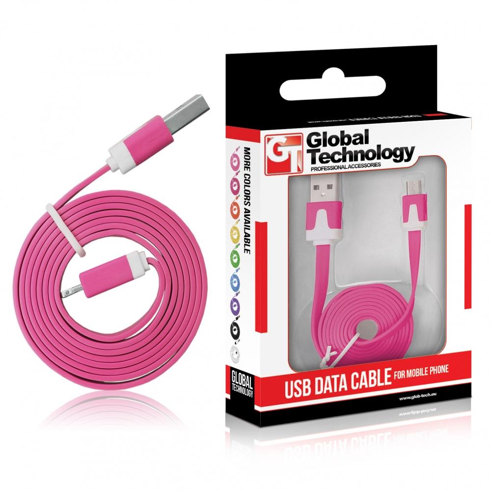 GT USB-Micro USB lapos rózsaszín kábel