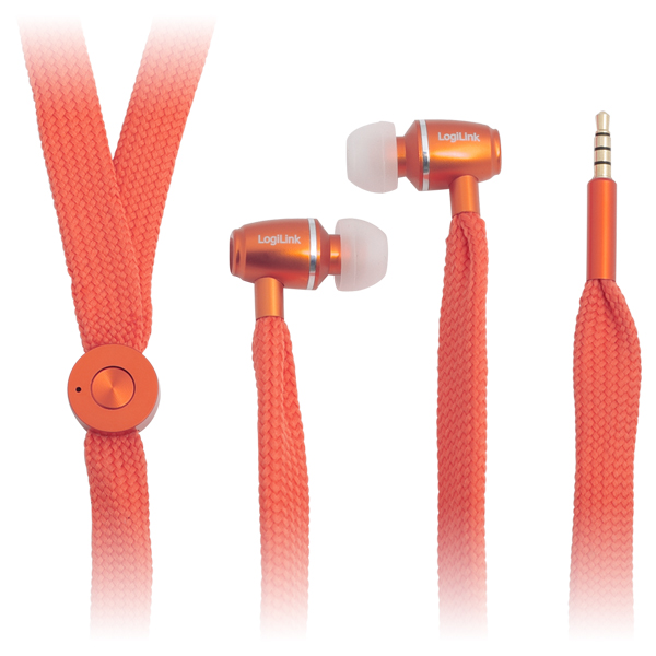 LogiLink Zsinóros fülhallgató mikrofonnal, narancs