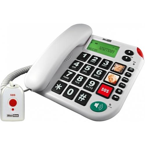 Maxcom KX481SOS vezetékes telefon nyakba akasztható vészjelző távirányítóval