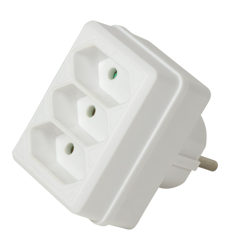 LogiLink Socket Adapter, 3x Euro, White