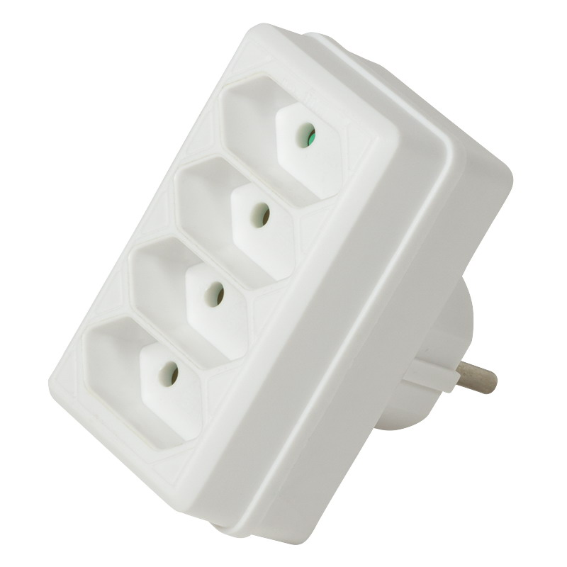 LogiLink Socket Adapter, 4x Euro, White