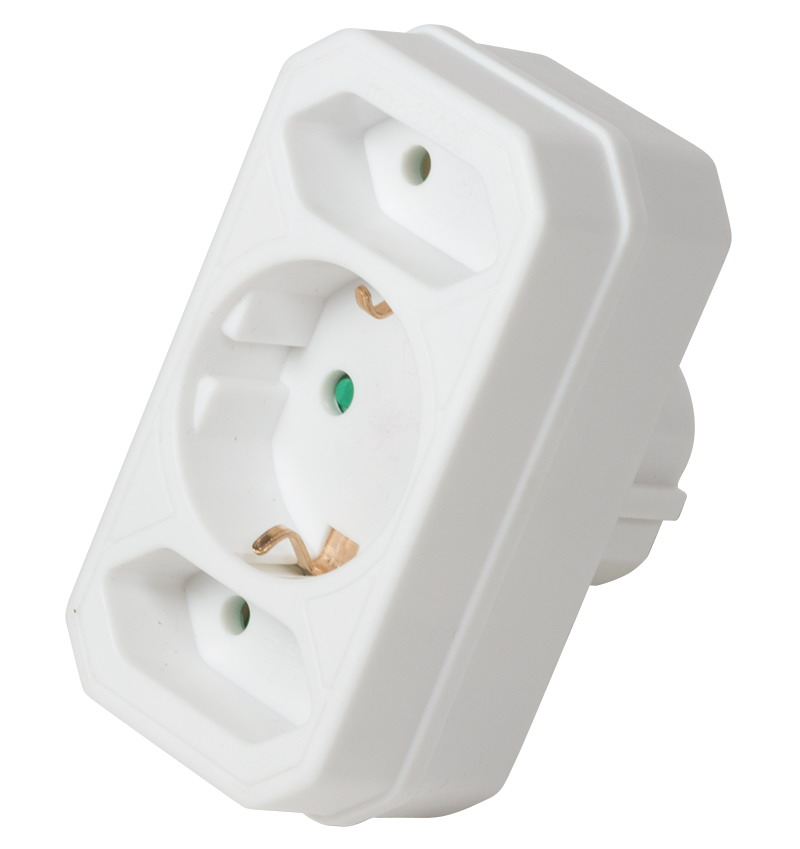 LogiLink Socket Adapter, 2x Euro and 1x Schuko, White