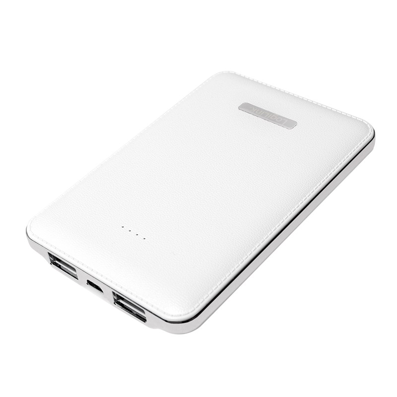 LogiLink Hordozható powerbank Leather Texture Design, 5000 mAh, White