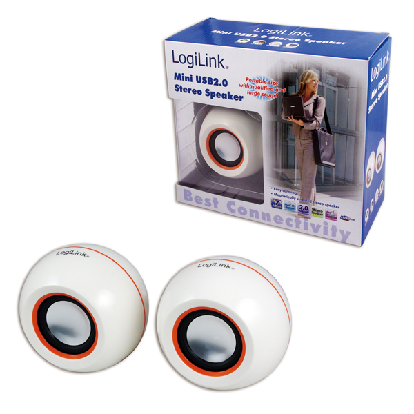 Logilink USB2.0-s mini sztereó hangszóró, fehér