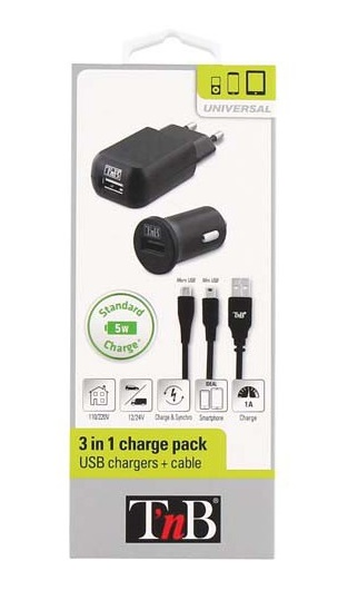TnB ACMPFULL1 CHARGER KIT CAR+MAINS+USB CABLE