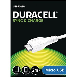 Duracell Sync/Charge Cable 2 Metre White