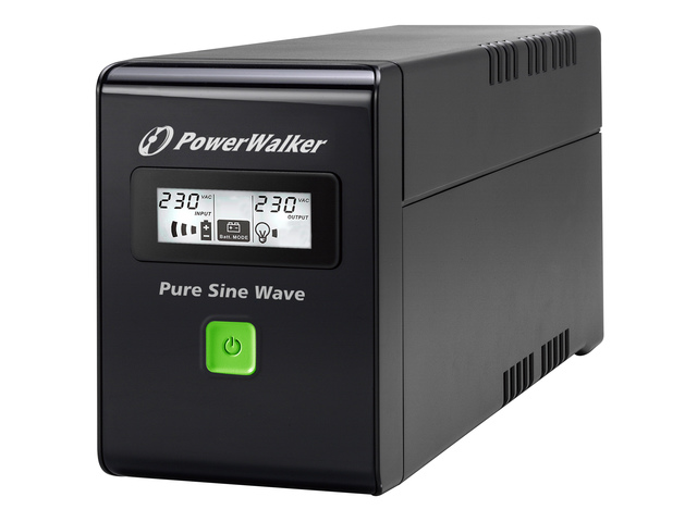 PowerWalker UPS LINE-INTERACTIVE 600VA 2X 230V, PURE SINE WAVE, RJ11/45 IN/OUT, USB, LCD